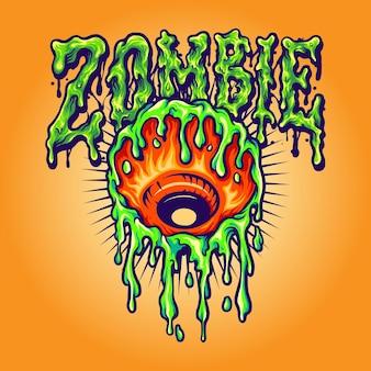 Eye melt zombie векторные иллюстрации для вашей работы логотип, футболка с товарами-талисманами, наклейки и дизайн этикеток, плакаты, поздравительные открытки, рекламирующие бизнес-компанию или бренды.