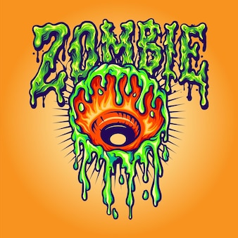 Eye melt zombie vector illustrations for your work logo, mascot merchandise t-shirt, stickers and label designs, poster, greeting cards advertising business company or brands.