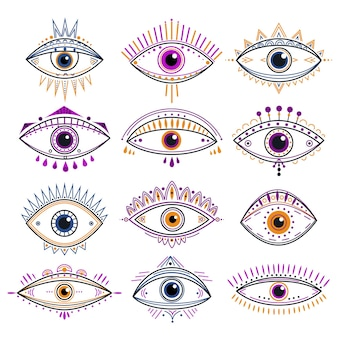섭리의 눈. 사악한 눈, 신비한 밀교 상징. 추상 신비로운 표지판 디자인. 장식적인 연금술과 마법의 라인 문신 아이콘. 밀교 부적, 섭리 신비한 눈 그림