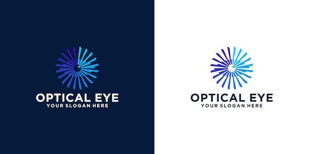 눈 광학 로고 디자인 영감, 눈 기술