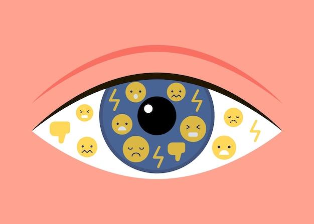 눈은 나쁜 감정을 반영합니다. 깡패는 조롱을 싫어합니다. 온라인 소셜 미디어 괴롭힘 피해자와 트롤