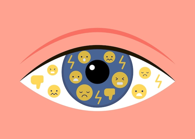 Eye reflect bad emotion bully dislike mockery online social media harassment victim and troll