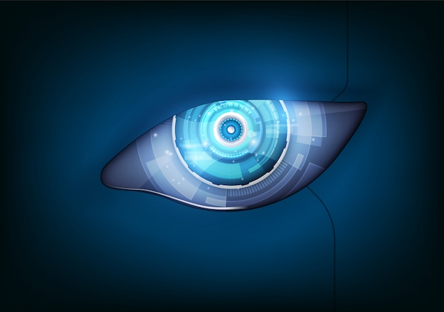 Eye of the robot futuristic hud interface