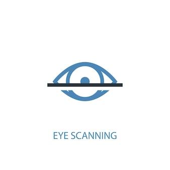 눈 스캐닝 개념 2 컬러 아이콘입니다. 간단한 파란색 요소 그림입니다. 눈 스캐닝 개념 기호 디자인입니다. 웹 및 모바일 ui/ux에 사용 가능