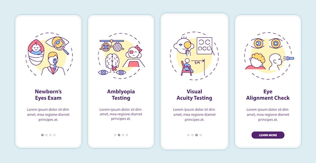 コンセプトのあるモバイルアプリページ画面にオンボーディングする子供のための目のスクリーニング。新生児の目の検査のウォークスルー4ステップのグラフィックの説明。 rgbカラーイラスト付きのuiテンプレート