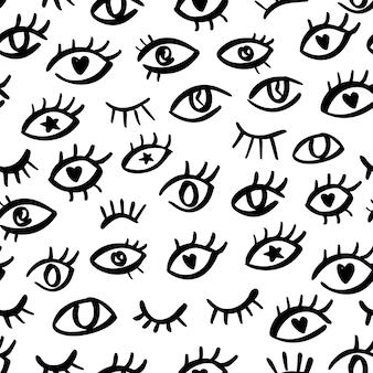 추상적인 낙서 모양으로 눈 완벽 한 패턴입니다. 손으로 그린 사악한 눈이 있는 심플한 스타일의 프린트 디자인. 포장, 패브릭 디자인을 위한 힙스터 그래픽 패턴입니다. 벡터 반복 장식에서 눈을 뜨고 윙크합니다.