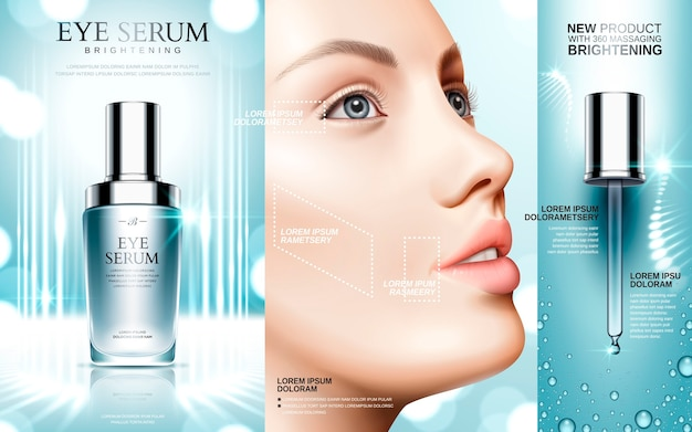 Eye serum contained in cosmetic bottles and model face
