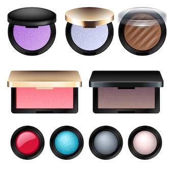 Eye shadow and blush cosmetic products set.