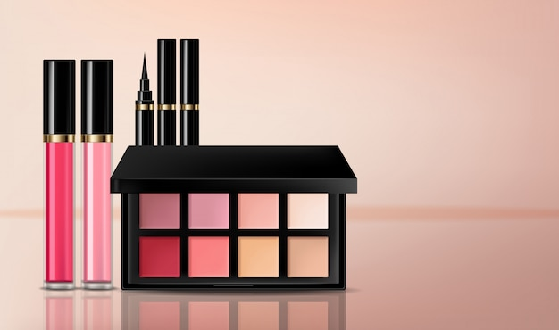 Eye shadow, lip gloss and powder blush collection