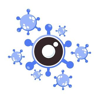 안과 질환의 상징으로 눈 모양의 바이러스 그림