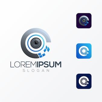 Eye tech премиум логотип значок