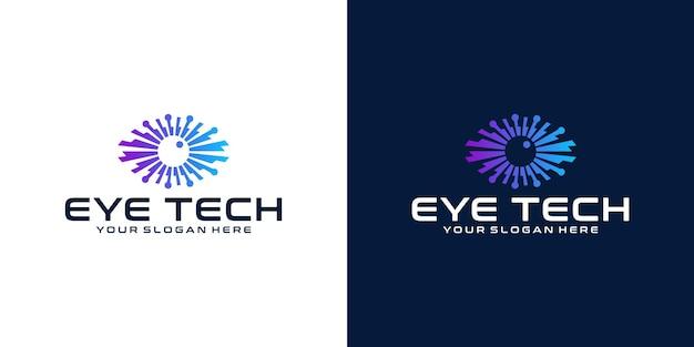 눈 기술 로고 디자인 영감과 명함 템플릿
