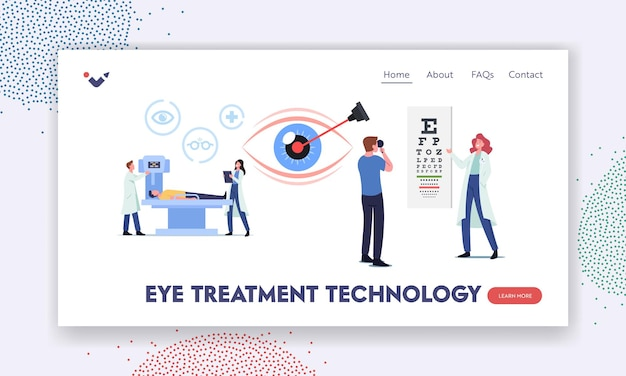 Eye treatment technology landing page template. professional optician exam for laser correction, vision surgery. ophthalmologist doctor character check eyesight. cartoon people vector illustration