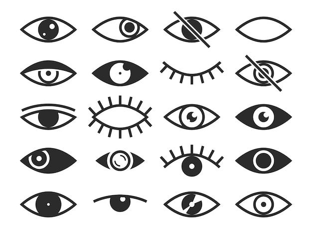 Глаз. признаки зрения и просмотра, открытые и закрытые человеческие глаза, линзы или плач, наблюдение за здоровьем глаз офтальмолога. зрение силуэт вектор изолированные символы набор