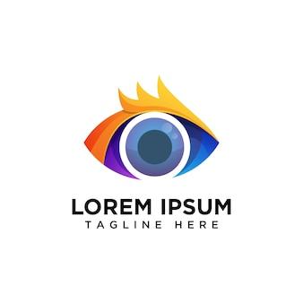 Eye vision color logo vector