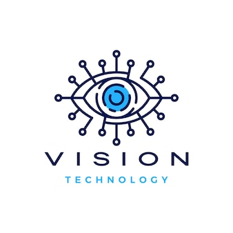 Eye vision technology digital logo   icon illustration