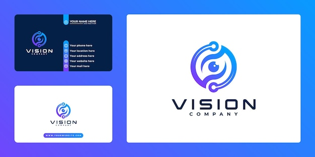 Eye vision technology logo and business card