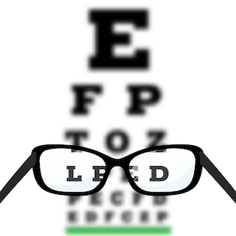 Eye vision test, poor eyesight myopia diagnostic on snellen eye test chart.