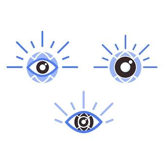 지구본 아이콘이 있는 눈. 세계 시력의 날을 위한 눈 건강 일러스트레이션 개념. 흰색 배경에