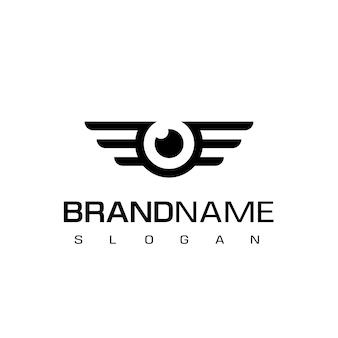 翼のシンボル、ドローンまたは空中写真のロゴのデザインと目