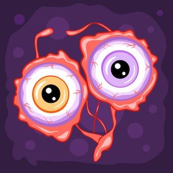 Глазные яблоки, мультфильм хэллоуин смешные иллюстрации, вектор.
