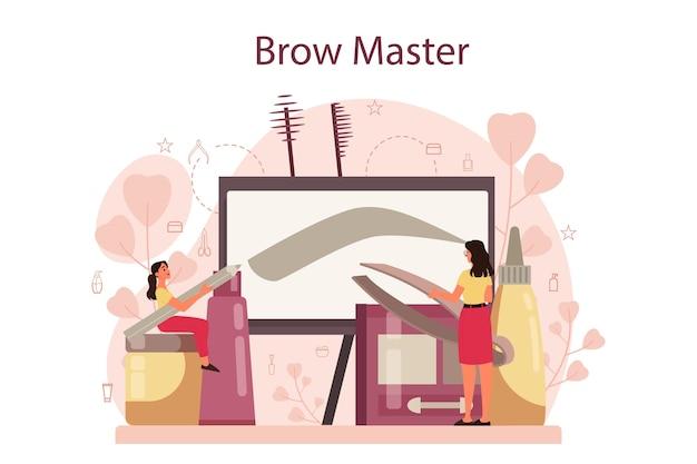 Мастер бровей и дизайнерская концепция. мастер создания идеальных бровей.
