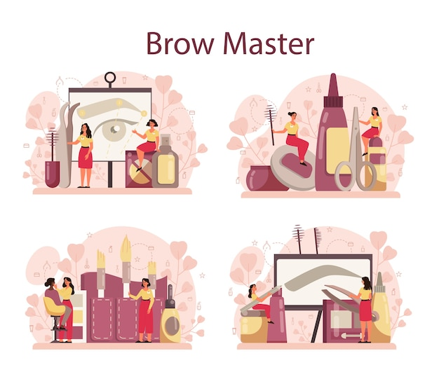 Eyebrow master and designer concept set. master making perfect