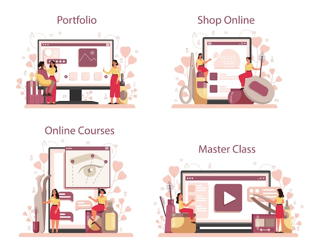 Eyebrow master and designer online service or platform set. master making perfect brow. idea of beauty and fashion. portfolio, master class, online shop, online course.