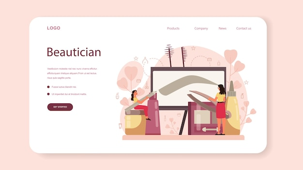 Eyebrow master and er web banner or landing page. master making perfect brow. idea of beauty and fashion. eyebrow shaping specialist. beauty routine concept.  design,