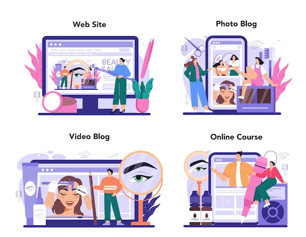 Eyebrow master online service or platform set. master making perfect eyebrows. eyebrow shaping or correction specialist. online course, photo and video blog, website. flat vector illustration