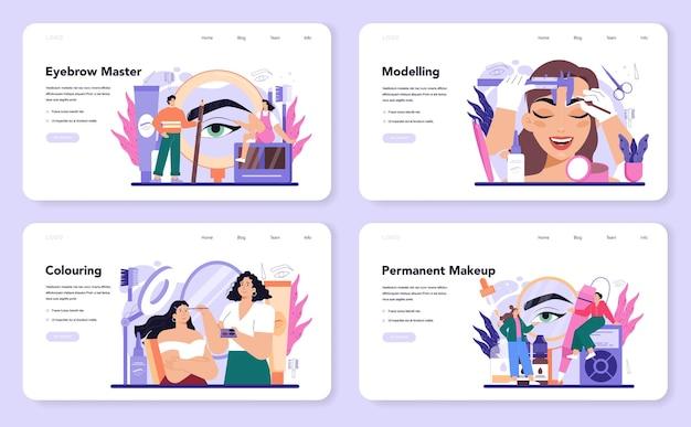 눈썹 마스터 웹 배너 또는 방문 페이지 세트. 완벽한 눈썹을 만드는 마스터
