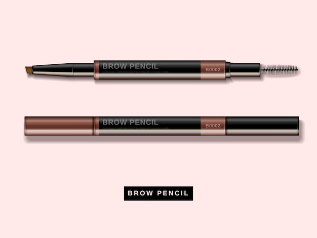 Eyebrow pencil , close up look at makeup product in 3d illustration isolated on pink