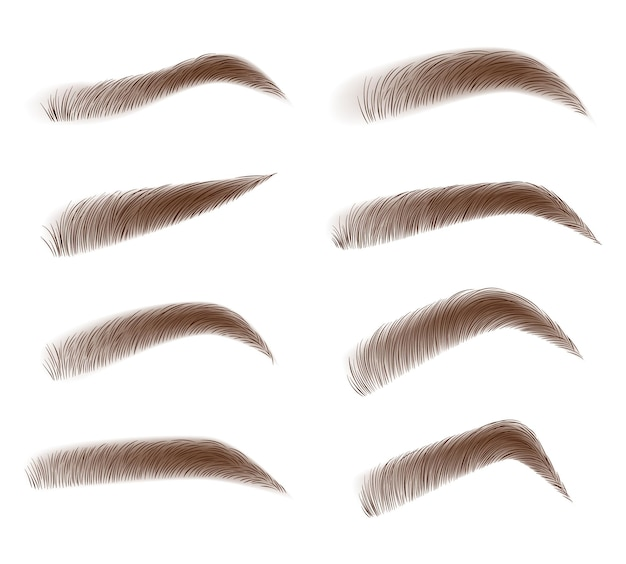 Eyebrow shape set. brown eyebrow bag.