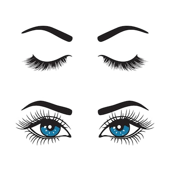 Eyebrows with eyes logo set.