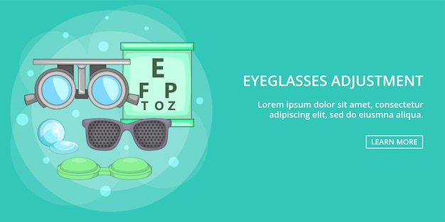 Eyeglasses banner horizontal, cartoon style