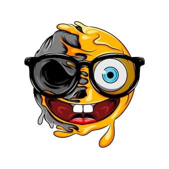 Eyeglasses expression changes to eyeglasses dark skull emoticon