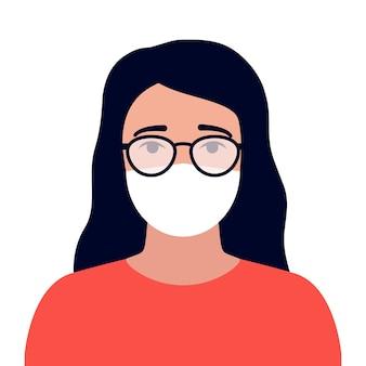 의료용 마스크 착용으로 안경이 뿌옇게 흐려진 안경으로 시야가 제한된 여성