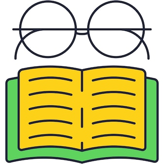 Eyeglasses over open book icon flat vector