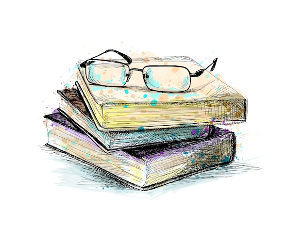 Eyeglasses on top stack books from a splash of watercolor, hand drawn sketch.  illustration of paints