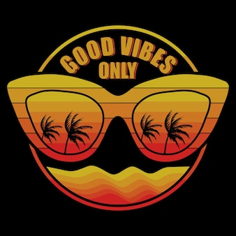 Eyeglasses with palm trees refelcted and good vibes only lettering illustration on black background