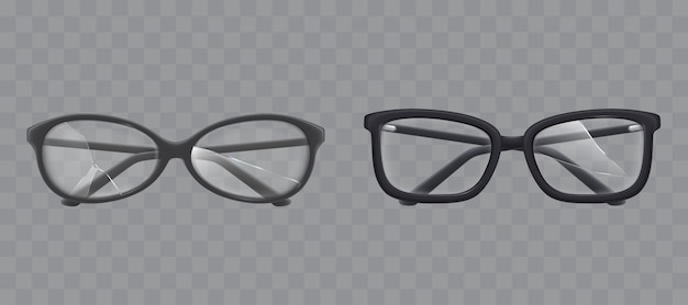 Eyeglasses with shattered glass realistic vector