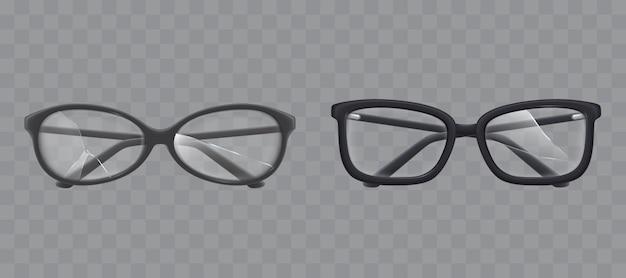 Occhiali da vista con il vettore realistico di vetro in frantumi