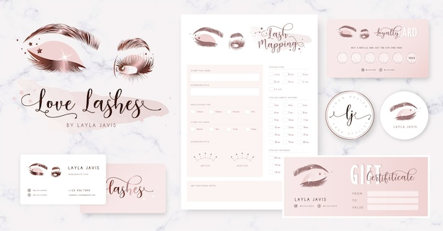 Eyelash branding with logo, business card