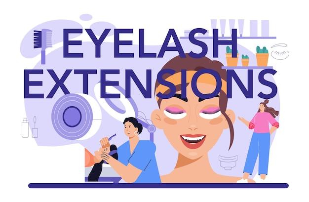 Eyelash extension typographic header. eyelashes volume correction. lashmaker puting fake eyelashes in salon. beauty center procedure. flat vector illustration
