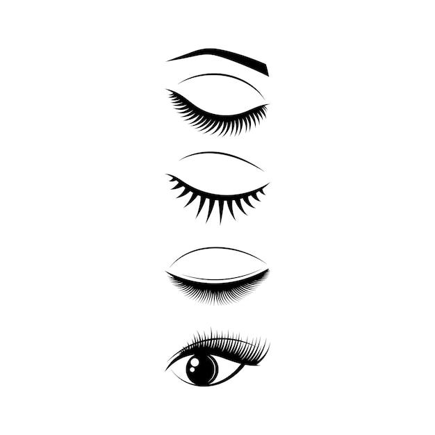 Eyelash icon set design template
