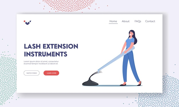 Eyelashes extension instruments landing page template. tiny master female character with huge tweezers presenting beauty procedure. spa cosmetics care process. cartoon people vector illustration