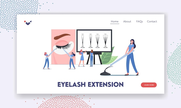 Eyelashes extension landing page template. tiny masters characters with tweezers presenting beauty procedure infographics with eyelash types from 2d to 5d on screen. cartoon people vector illustration