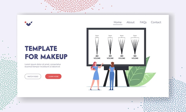 Eyelashes extension makeup landing page template. tiny master female character presenting beauty procedure infographics with eyelash types from 2d to 5d on screen. cartoon people vector illustration