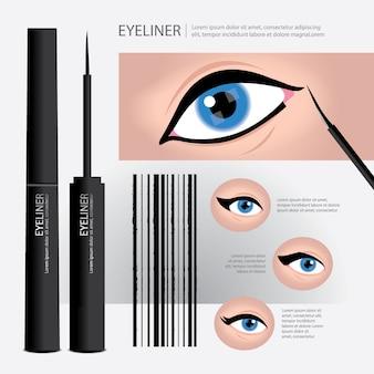 Eyeliner packaging with types of eye makeup