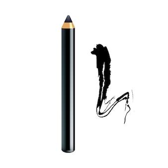 Eyeliner pencil and paint stroke makeup Premium Vector